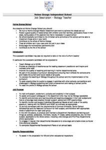Elegant Biology Teacher U2013 Job Description